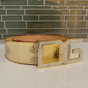 Dolce & Gabbana Ivory and Grey W Python Belt